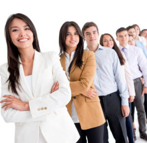 Successful group of business people - isolated over white