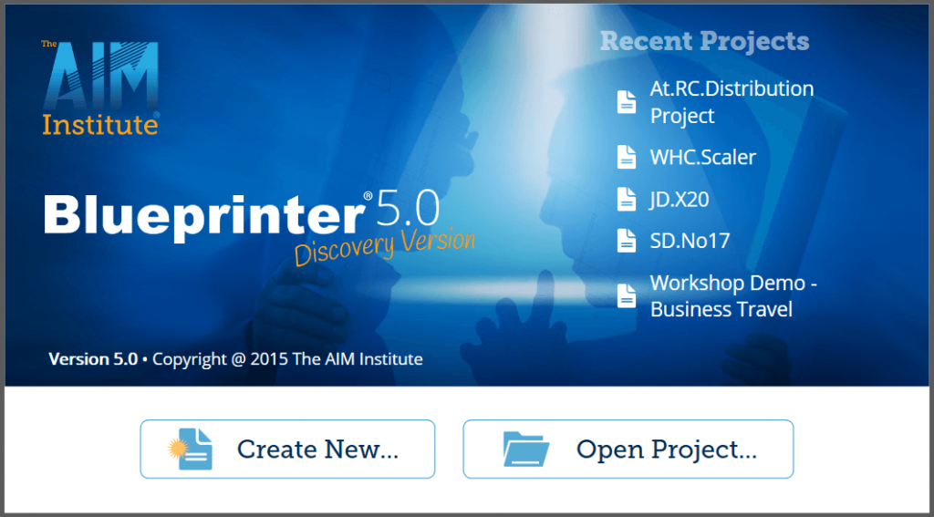 Open splash screen for New Product Blueprinting software