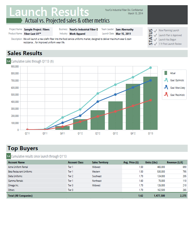 Document showing sales results, top buyers, lead conversion and metrics tracking for you to share with management and stakeholders