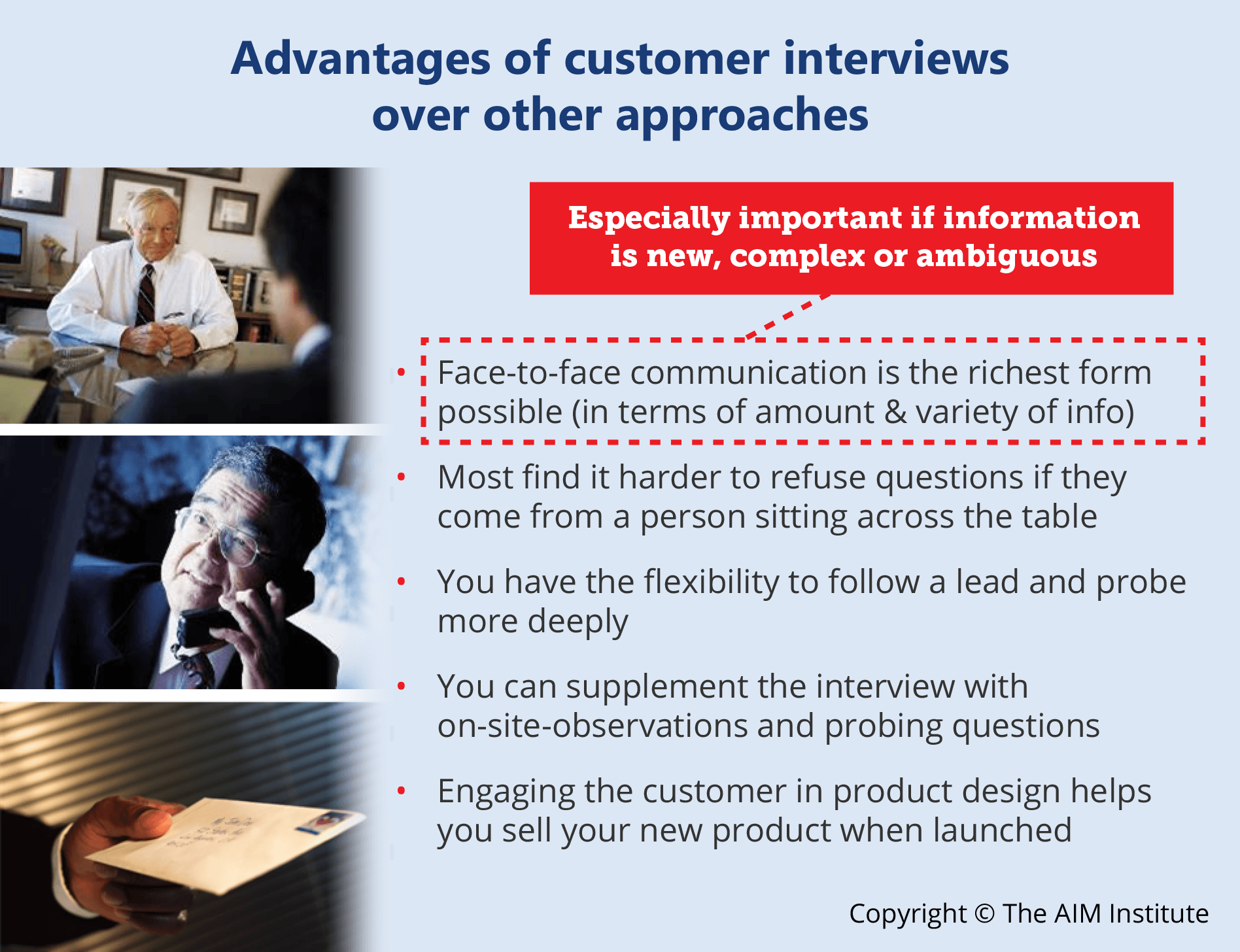 Voice of customer interview advantages