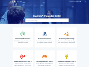 The AIM Institute's BlueHelp knowledge center is focused on B2B customer insight, as practiced with its New Product Blueprinting and Blueprinter software.